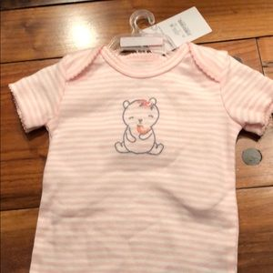 Baby girl pink stripes with bear onsie 6 months